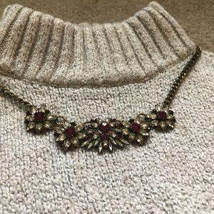 Formal Necklace, Gold/Bronze & Dark Pink